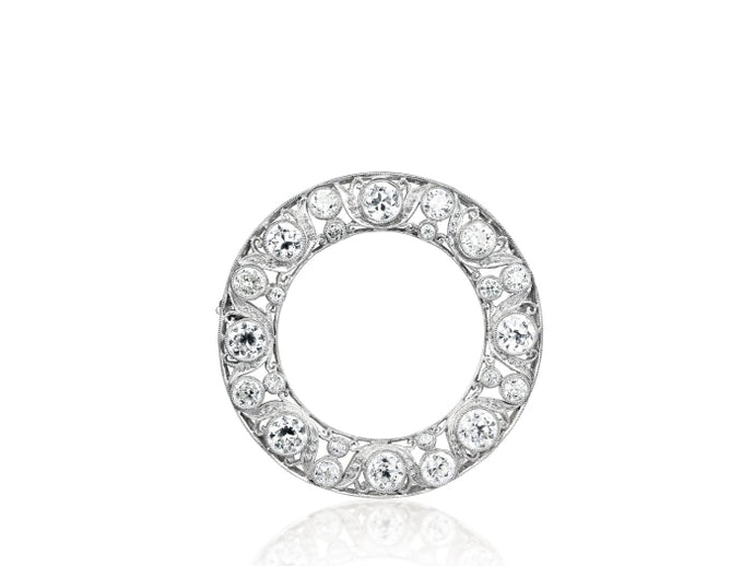 4.00ctw Edwardian Diamond Circle Pin (Platinum) - JEWELRY Boston