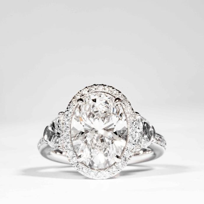 4.01ct Oval Cut 3-Stone Diamond Halo Ring (GIA Certified Two Tone) - ENGAGEMENT Boston