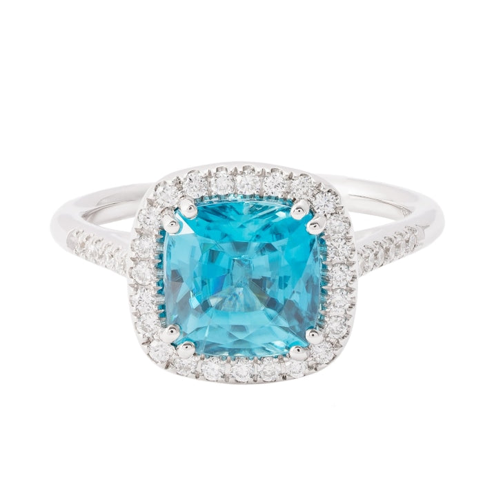 3d0bbb8a8829d 4.01ct Cushion Shape Blue Zircon & Diamond Halo Ring (14k White Gold)