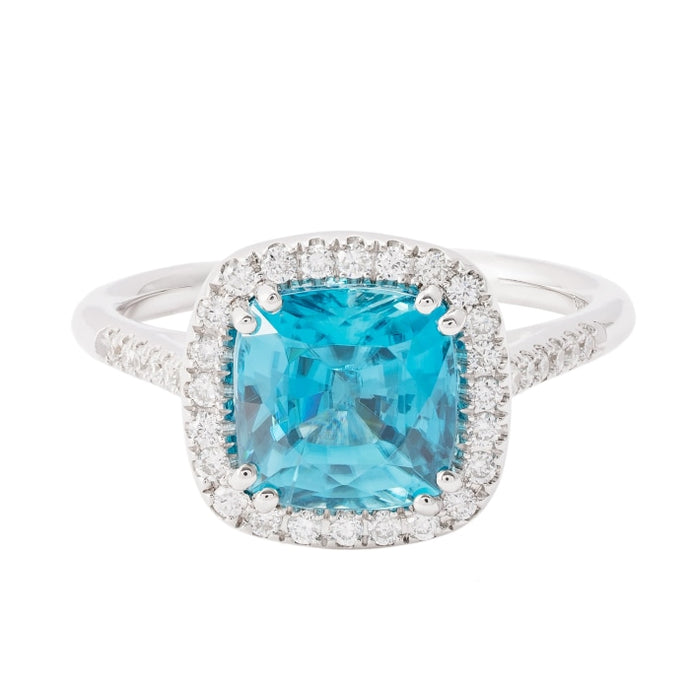 4.01ct Cushion Shape Blue Zircon & Diamond Halo Ring (14k White Gold) - JEWELRY Boston