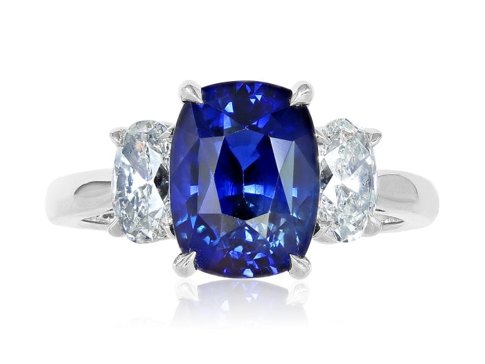 4.02Ct Sapphire & Diamond 3 Stone Ring - Jewelry Boston