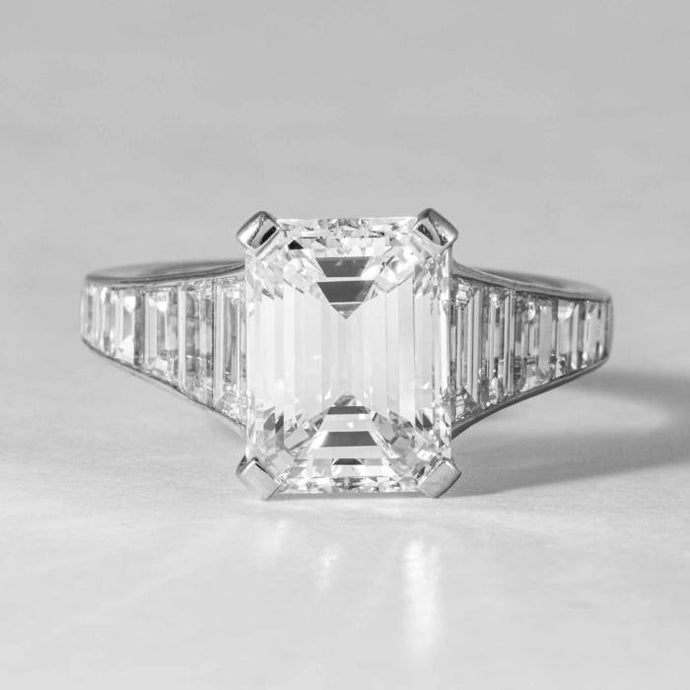 4.06 cts colorless and clean Emerald Cut Diamond engagement Ring - Boston