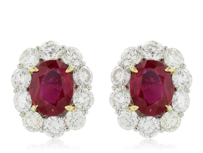 4.08 Carat Burma Ruby And Diamond Earrings Agl Certified - Jewelry Boston