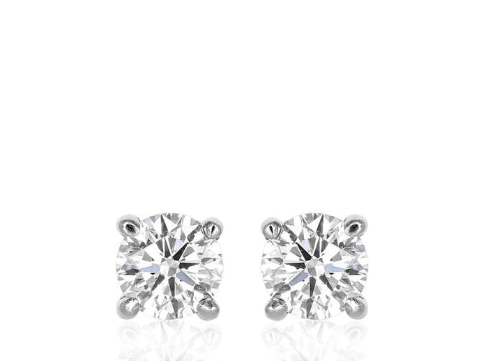 4.08 Carat Round Brilliant Diamond Cut Studs Earrings (Platinum) - JEWELRY Boston