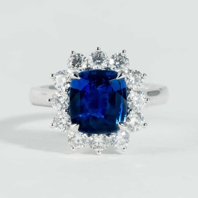 4.09CT Cushion Blue Sapphire GIA & Diamond Ring - Boston