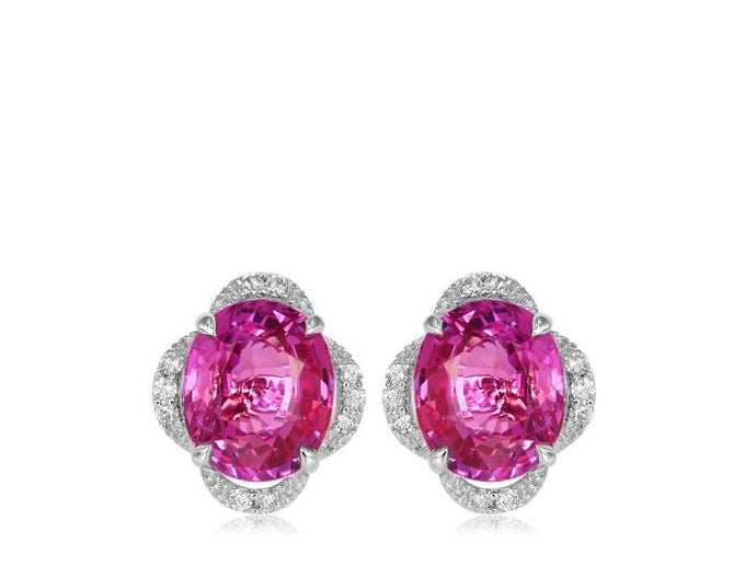 4.09ct Pink Sapphire & Diamond Earrings - Boston