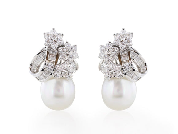4.16 Carat Diamond And 13Mm Pearl Earrings - Jewelry Boston