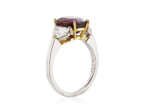 4.21 Carat Thai Ruby And Diamond Ring (Platinum) - Jewelry Boston
