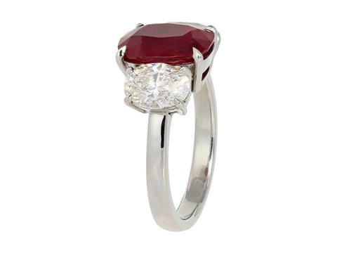 4.23 Carat Cushion Cut Burma Pigeon Blood Ruby And Diamond Ring (Platinum) - Jewelry Boston