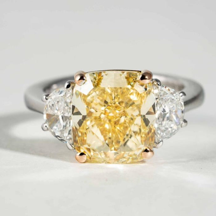 4.41CT Cushion Fancy Yellow/VVS2 Diamond 3Stone Ring - Boston