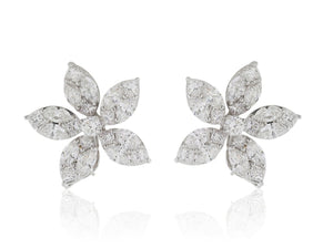4.48 Carat Pear Cluster Diamond Earrings - Jewelry Boston