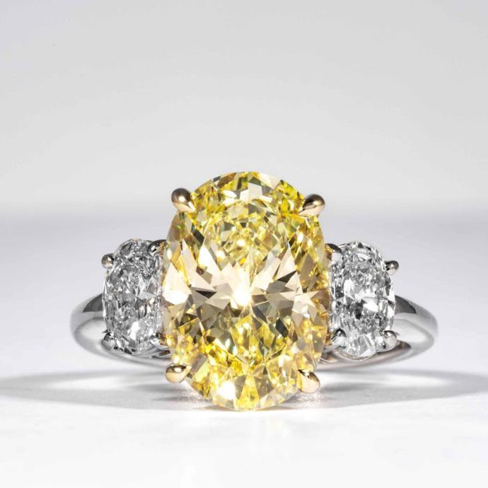 4.55 carat Fancy Yellow Oval Cut 3-Stone Canary Diamond Ring (GIA Certified) - ENGAGEMENT Boston