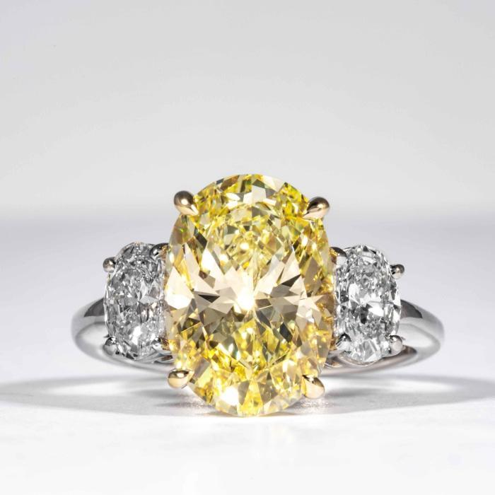 9Ct Oval Cut Canary Yellow Synt Diamond Cocktail Ring White Gold Finish Silver