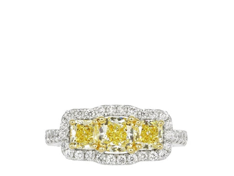 4.72 Radiant Cut 3 Stone Canary Diamond Ring (Platinum And 18K Yellow Gold) - Jewelry Boston