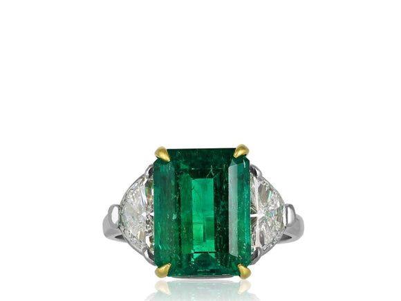 4.73 Carat Emerald And Diamond Ring (Platinum & 18K Yellow Gold) - Jewelry Boston