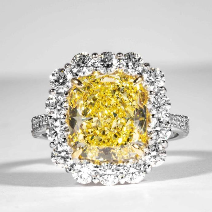 4.75 carat Fancy Intense Yellow Cushion Cut Canary Diamond Cluster Ring (GIA Certified) - ENGAGEMENT Boston