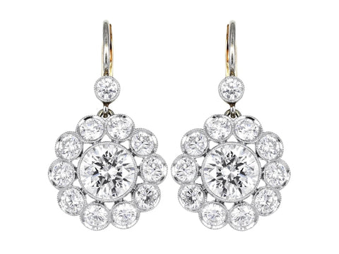 4.75ct Diamond Vintage Style Drop Earrings - JEWELRY Boston