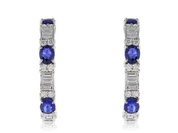 18 kt wg diamond/sapphire hoop earrings - Boston