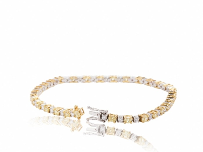 4.81 Carat Canary & Colorless Diamond Bracelet (18K Yellow Gold) - Jewelry Boston