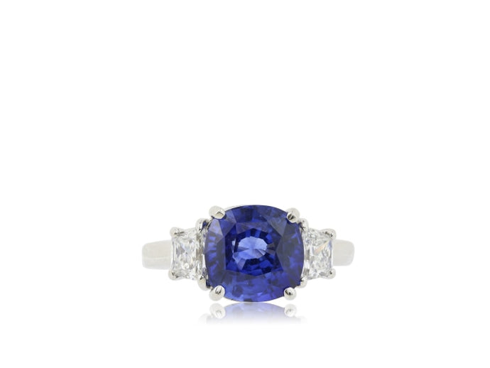 4.86ct Cushion Blue Sapphire 3-Stone Ring (AGL Platinum) - ENGAGEMENT Boston