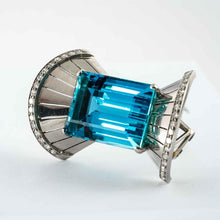 Load image into Gallery viewer, 40 Carat Emerald Cut Aquamarine and Diamond Necklace (WG) - Boston