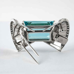 40 Carat Emerald Cut Aquamarine and Diamond Necklace (WG) - Boston