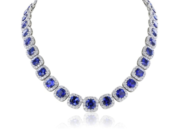 40.55 Carat Sapphire And Diamond Graduated Necklace - Jewelry Boston