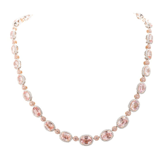 42.10 Carats Oval Padparadscha Sapphire And Diamond Necklace - Jewelry Boston