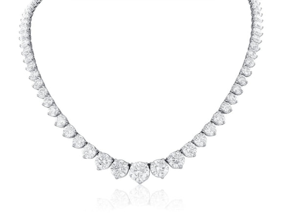 44.60ct Round Brilliant Cut Diamond Riviera Necklace (Platinum) - JEWELRY Boston