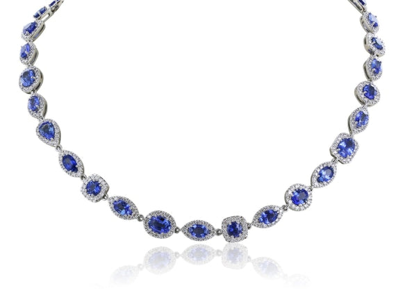 47.98 Carat Sapphire Diamond Opera Length Necklace - Jewelry Boston