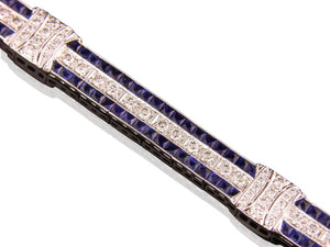 5.00 Carat Diamond And Sapphire Bracelet (Platinum) - Jewelry Boston