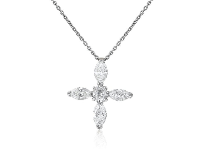 5.00 Carat Diamond Cross Pendant Necklace (Platinum) - Jewelry Boston