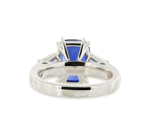 5.01 Carat Ceylon Sapphire & Diamond Ring (Platinum) - Jewelry Boston