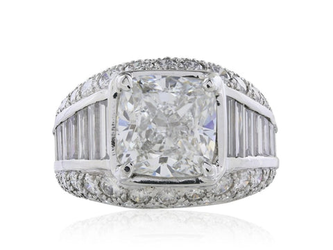 5.01 Carat Cushion Cut Diamond Engagement Ring (Platinum) - Jewelry Boston