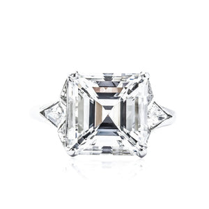 5.01 E/vs2 Asscher Cut Diamond Ring Flanked By Kite Shapes In Custom Setting - Jewelry Boston