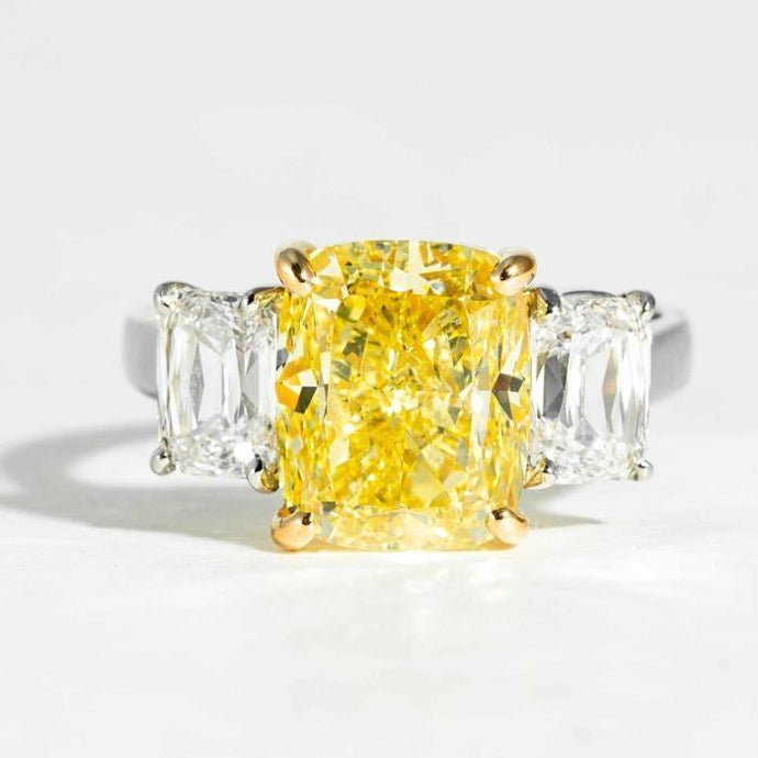 5.02 CT Cushion Fancy Intense Yellow Diamond Engagement Ring signed Oscar Heyman Bros OHB stamped 303035 - Boston