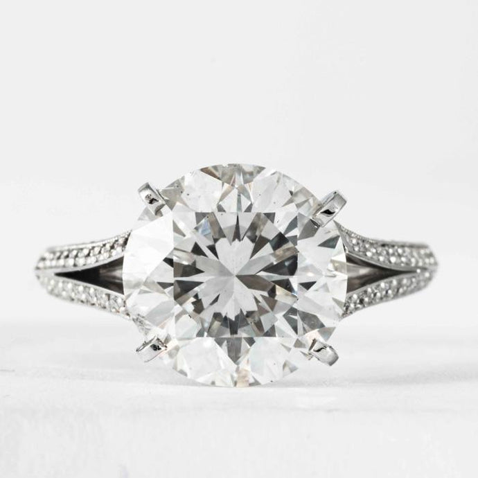 5.02 carat J SI1 Round Brilliant Cut Diamond and Platinum Ring (GIA Certified) - ENGAGEMENT Boston