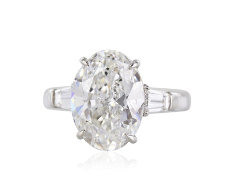 5.02 Carat Oval Cut Diamond Engagement Ring (Platinum) - Jewelry Boston