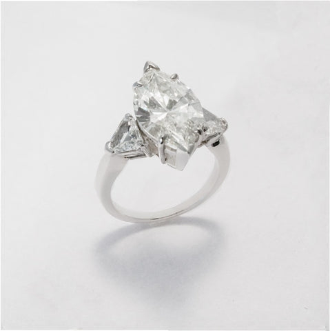 5.02ct Marquise Diamond 3-Stone Engagment Ring (GIA I/VVS2 Platinum) - ENGAGEMENT Boston