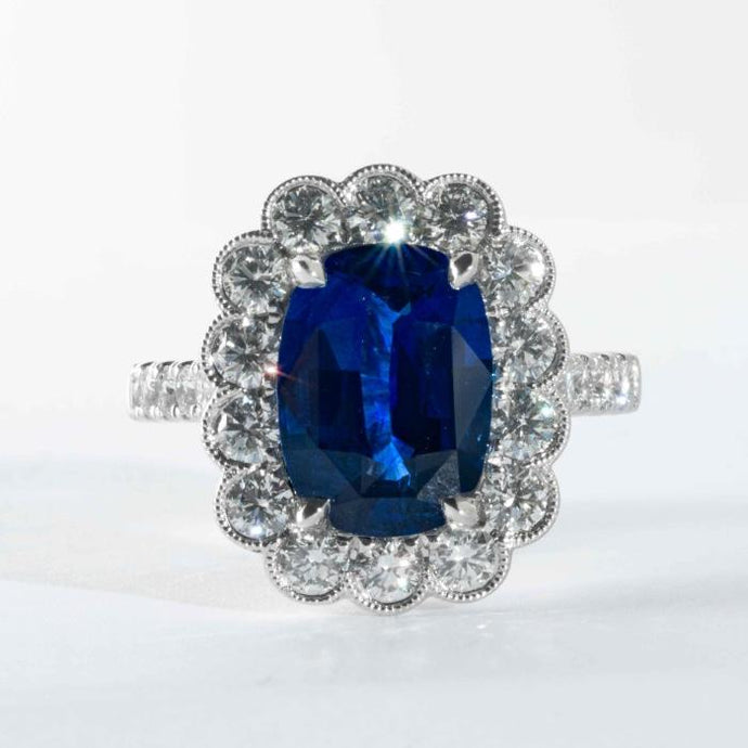 5.03CT Cushion Royal Blue Sapphire w/1.85CTW Diamond Ring - Boston