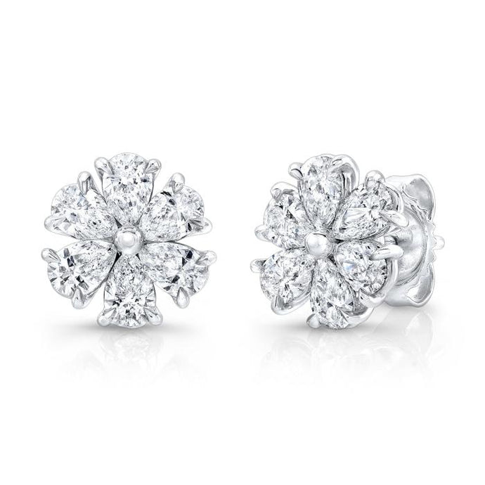 5.05ctw Diamond Flower Studs (White Gold) - Jewelry Designers Boston