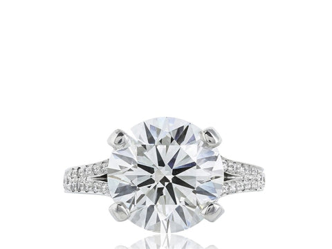 5.06 Carat Round Brilliant Cut Solitaire Diamond Engagement Ring (Platinum) - Jewelry Boston