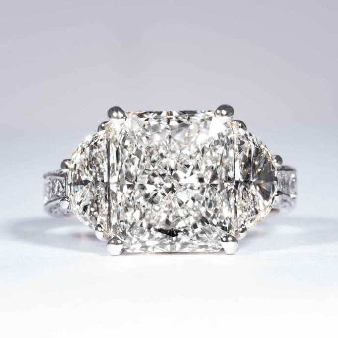 5.07 carat I VS2 Radiant Cut Diamond 3-Stone Platinum Ring (GIA Certified) - ENGAGEMENT Boston