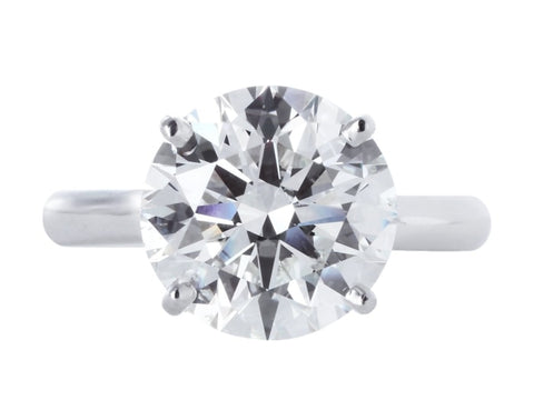 5.08 Carat Round Brilliant Cut Solitaire Diamond Engagement Ring (Platinum) - Jewelry Boston