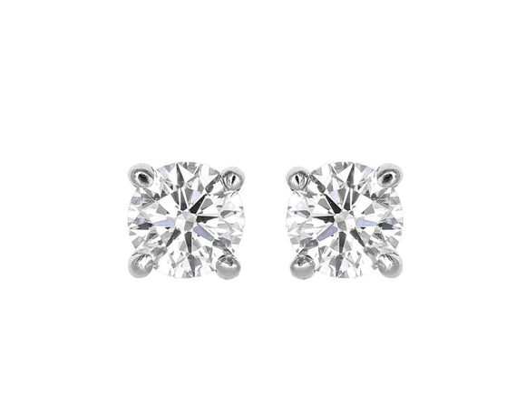 5.11 Carat Round Brilliant Cut Diamond Stud Earrings I / Si2 Triple X (Platinum) - Jewelry Boston