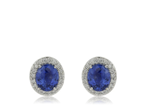 5.11ct Oval Sapphire & Diamond Halo Earrings (Platinum) - JEWELRY Boston