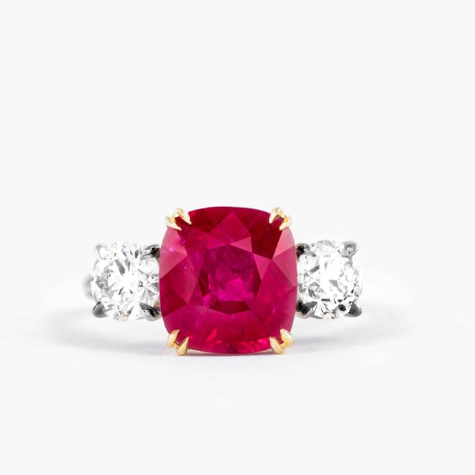 5.14 Carat Burma Ruby & Diamond 3-Stone Ring (Two-tone) - JEWELRY Boston