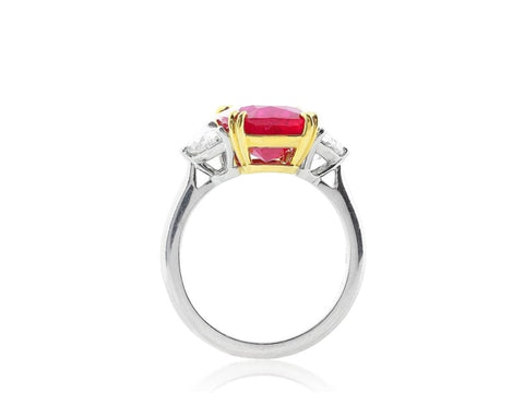 5.14 Carat Cushion Cut Burma Ruby Ring W/ Diamonds (Platinum) - Jewelry Boston