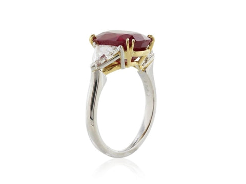 5.15 Carat Burma Pigeon Blood Ruby And Diamond Ring (Platinum) - Jewelry Boston