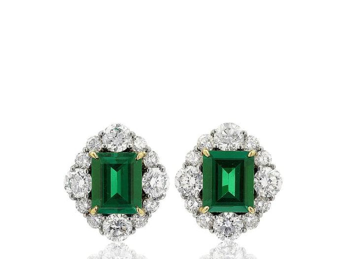 5.19ct Colombian Emerald & Diamond Earrings - Boston